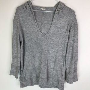 J crew knit Hoodie Pullover V-Neck Small Soft Gray